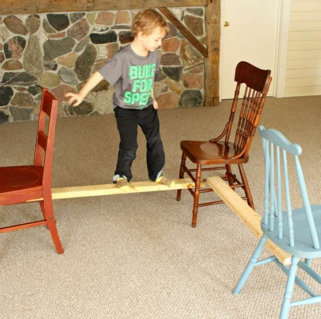 Balance beam! Great indoor activity for toddlers