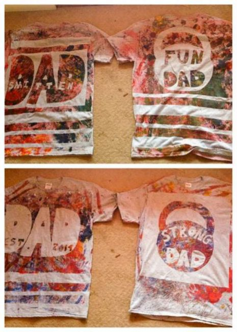 Painted t-shirts for Dad made by a toddler