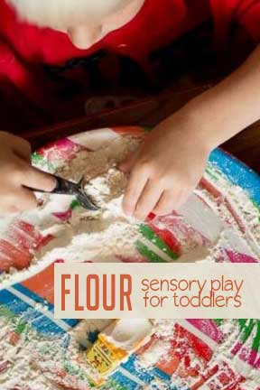 Have messy fun with a flour sensory play activity for toddlers!