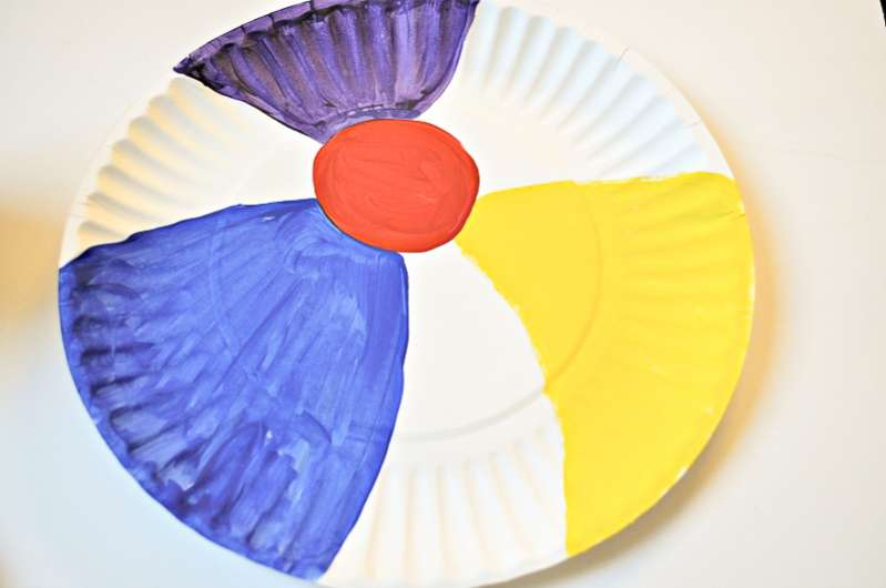 Paper plate beach ball craft