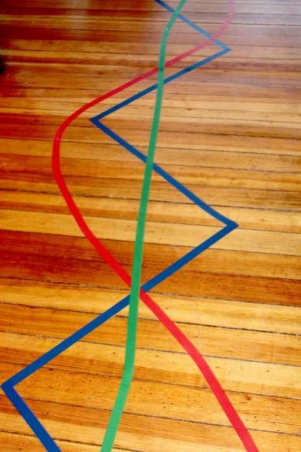Use different colors to make several tape lines