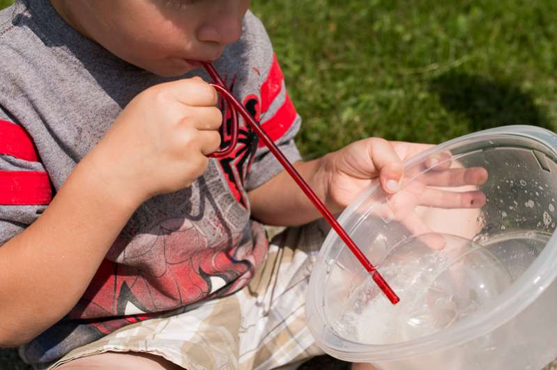 Explore what makes bubbles with homemade bubble solution