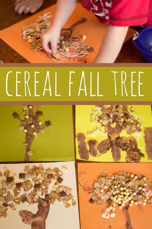 Make this fun and simple fall tree cereal craft with your kids and take on the challenge of creating a Kid-Powered morning routine at home!