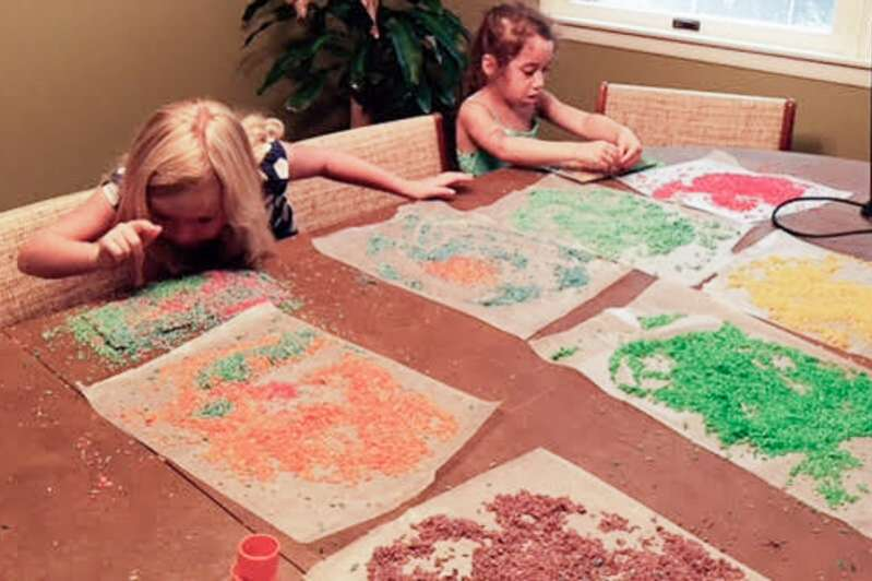 Art project with homemade colored rice