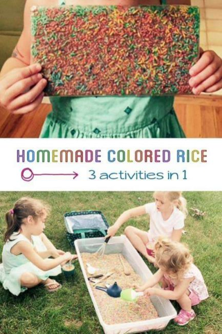 Learn how to make homemade colored rice and what activities to do with it.