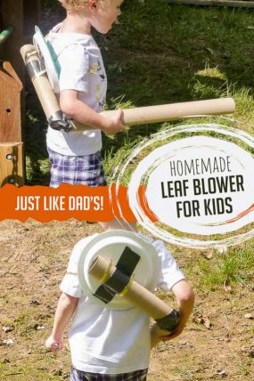 A homemade leaf blower craft that looks just like Dad's!