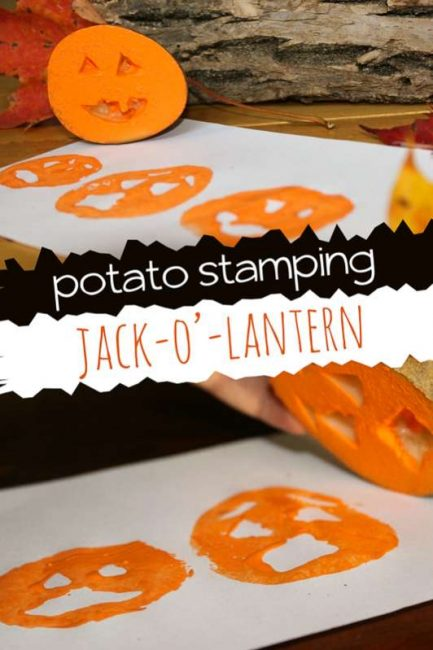 Potato stamping jack-o-lanterns make a fun and easy Halloween craft for kids!