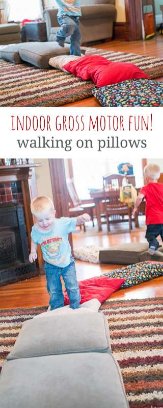 Indoor gross motor fun! Walking on pillows. (Great for a rainy day)