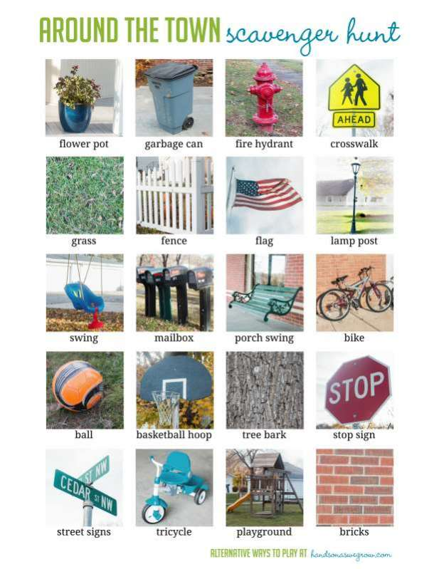 Around The Town Scavenger Hunt To Do As Your Child Grows