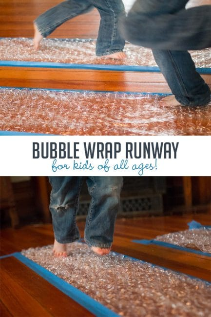 Run and pop your way to fun with a bubble wrap runway! You'll love the never ending giggles and hours of fun!