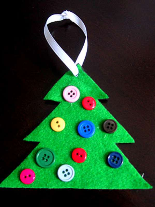 DIY a cute button Christmas tree ornament together and put it on the tree!