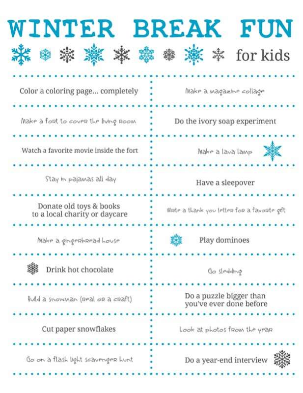 Fun things to do over Winter Break for the kids - need to print out the free printable!