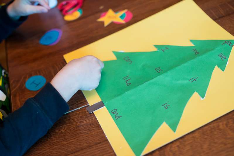 Sight word practice by decorating a Christmas tree