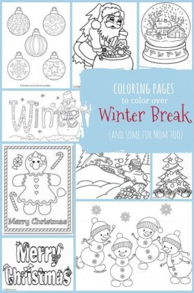 Winter break coloring pages for kids (and adults!) - Both Winter and Christmas coloring pages