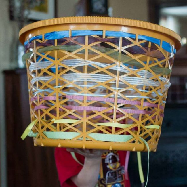 Learn to weave (and pattern) with ribbon & a clothes basket