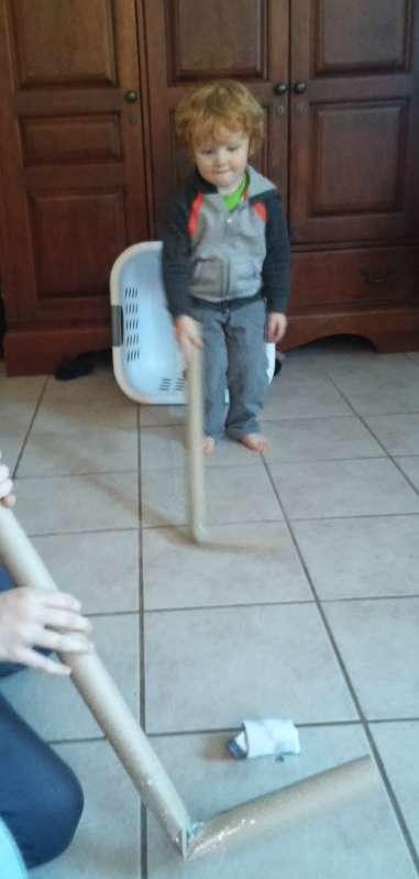 Active indoor winter activities for kids - play ice hockey!