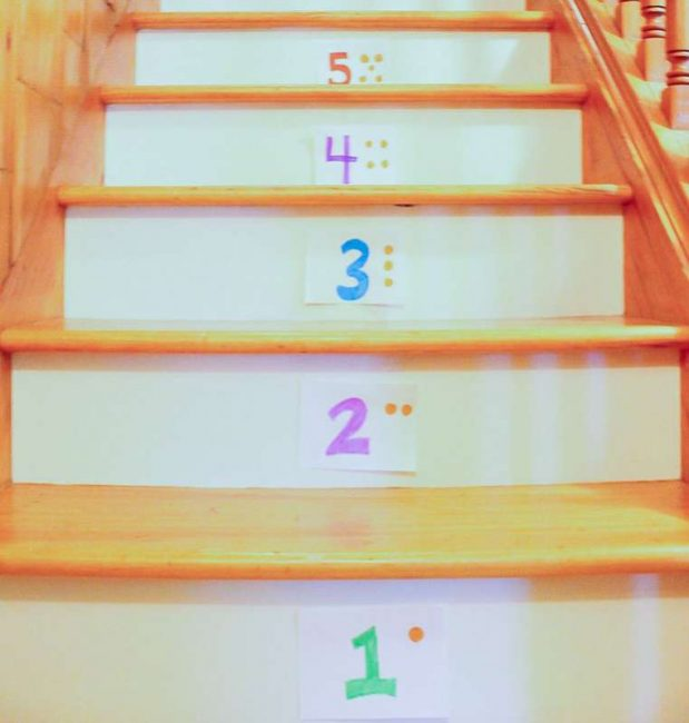 A simple bean bag number toss on the stairs is a great activity for preschoolers!