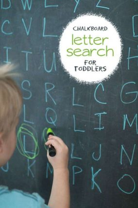 Chalkboard letter search for toddlers