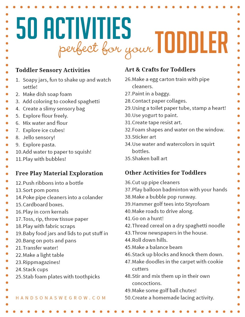 50 Perfectly Simple Toddler Activities