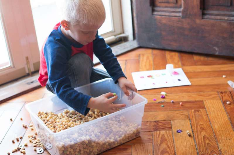 Cereal sensory bin alternative for preschoolers (more advanced)