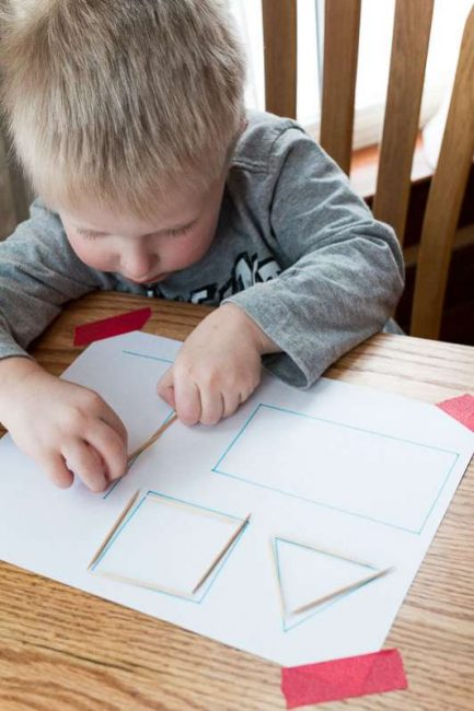 Tracing shapes with toothpicks