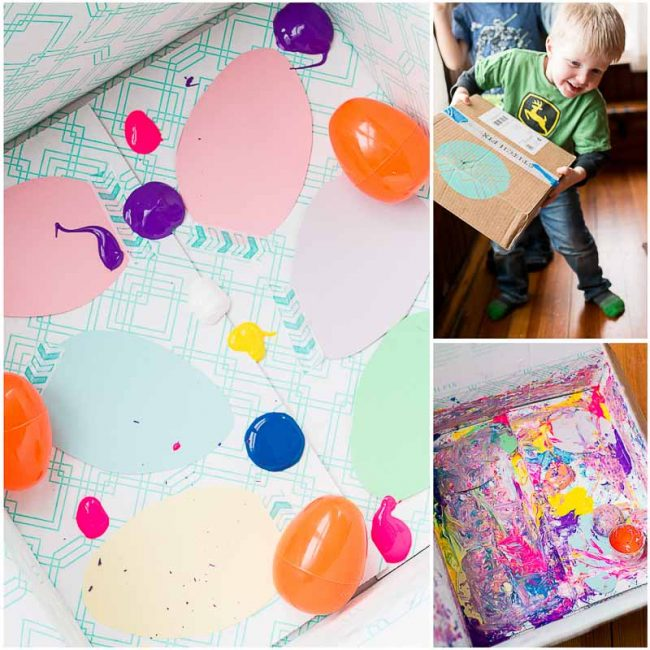 Add paper cutouts, hard plastic toys, and blobs of paint to a box - close up and shake!