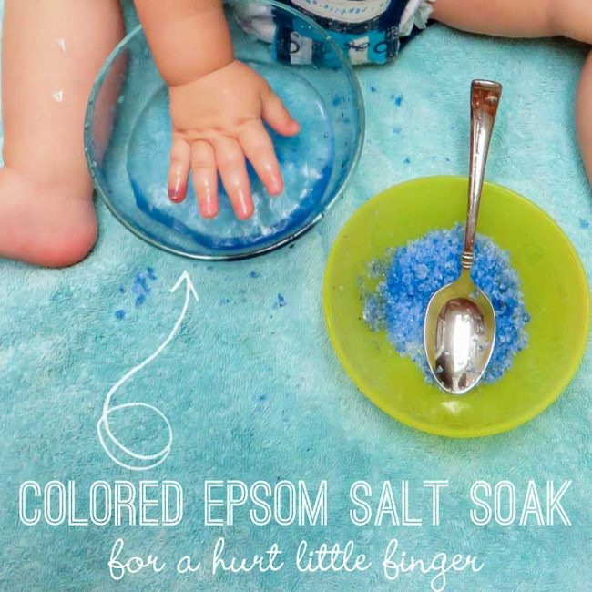 Make a salt soak into a simple sensory activity for little ones to soak their hurt finger