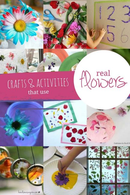 Use real flowers in these flower crafts and activities for the kids