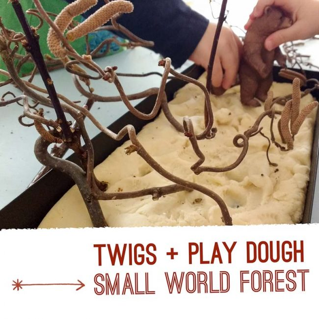 Bring twigs inside and add to play dough for a small world forest