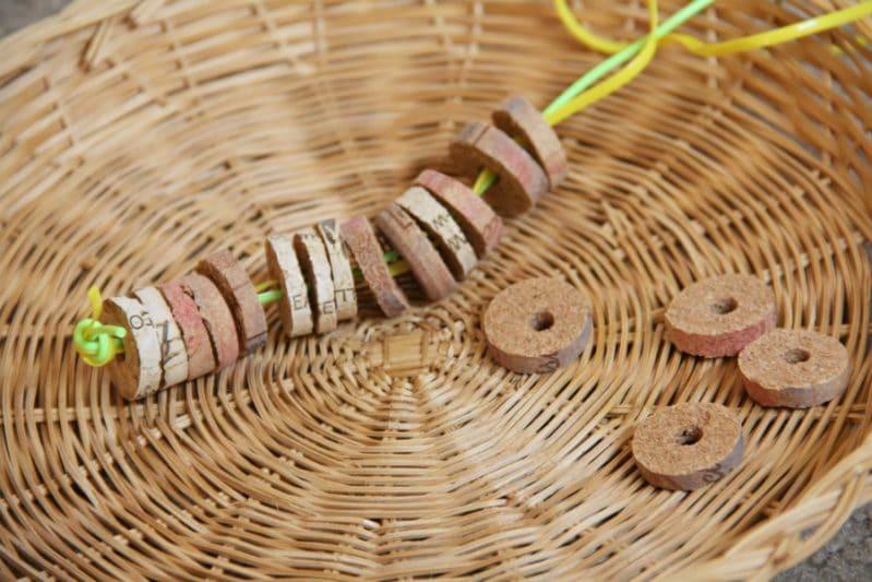 Cork bead bracelets are a fine motor activity that kids will love!
