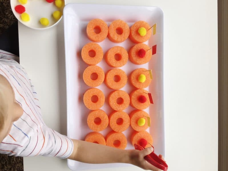 DIY a pool noodle fine motor activity with supplies you probably already have!