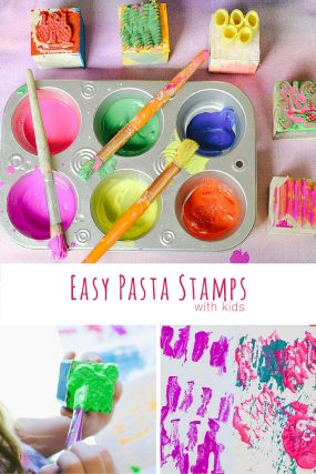 Make fun and easy pasta stamps with kids.