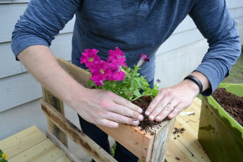 Make the mud kitchen pretty with flowers
