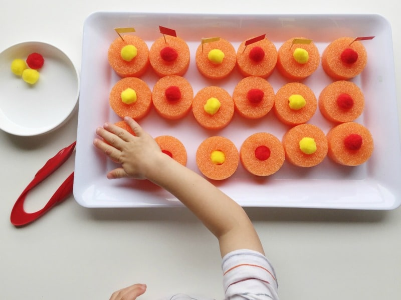 Try out different ways to play with your pool noodle fine motor tray!
