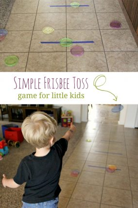 Make a simple Frisbee toss game for little kids - fantastic gross motor activity!