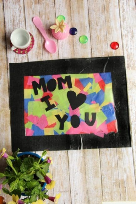 Kids will love making this suncatcher craft for Mother's Day and any day!