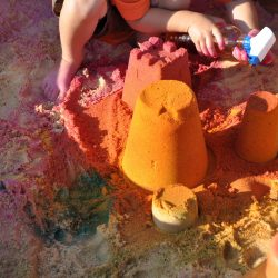 Colored sand castles in your sandbox