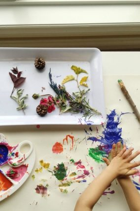 painting with nature leaf print