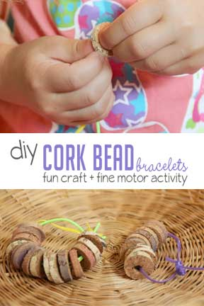 Make a cork beads bracelet to practice fine motor skills with a threading activity