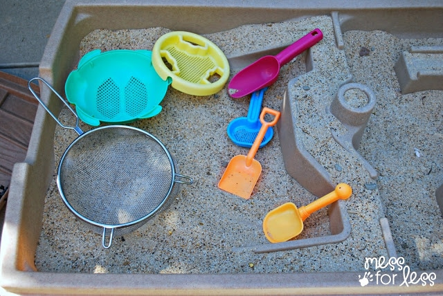 """Sandbox Activities for Kids -- Go panning for gold. Mess for Less shares how to turn a sand table into a gold panning expedition. This would be even more fun on a larger scale in a sandbox! The kids can make their own """"gold nuggets"""", hide them in the sandbox, and then set about digging and panning for them."""