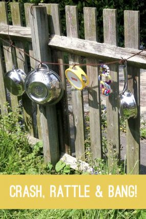 String up pots and pans for a musical sensory experience to the ears!