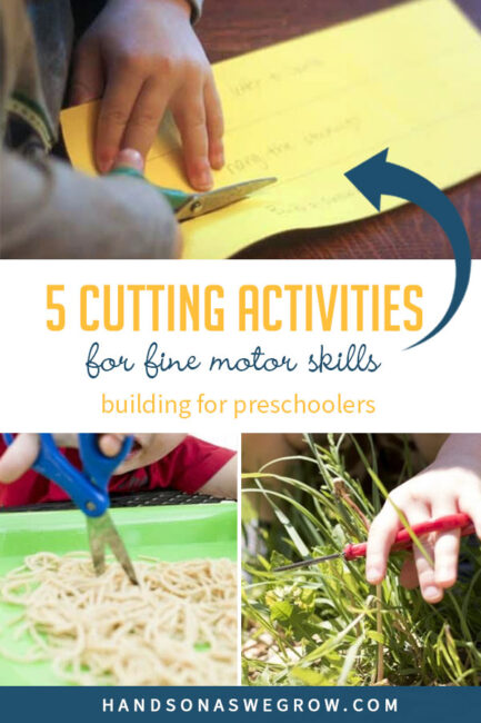 Here are 5 different cutting activities to help build fine motor skills and practice using a scissors. Perfect and fun cutting activities for preschoolers.