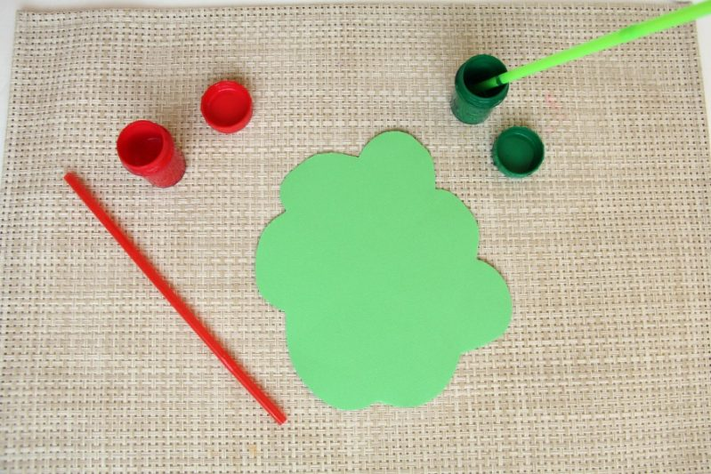 Make a straw drop painting apple tree craft for kids.
