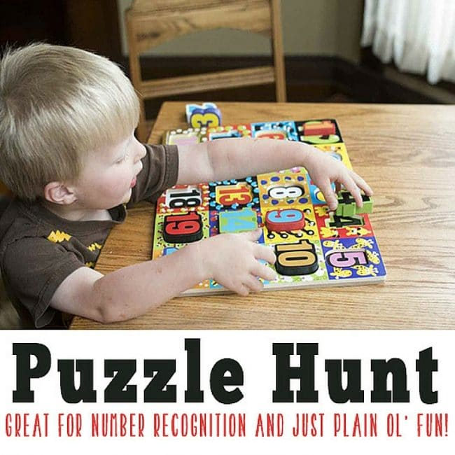 Fun puzzle scavenger that will have your preschooler counting their way through the hunt.