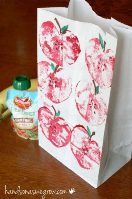 Make your own stamped apple bag for the teacher!
