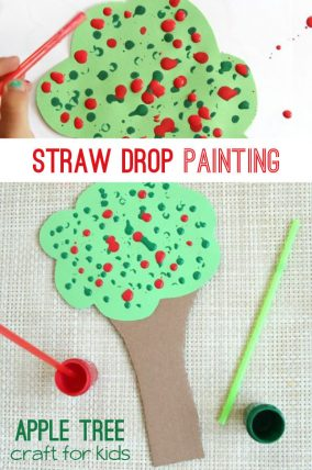 Straw drop painting apple tree craft for kids