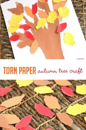 Tearing paper to work on fine motor skills while making a simple fall tree craft -- great project!