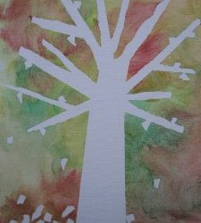 Tape Resist Fall Tree Art Project