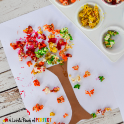 Colorful Fall Tree Popcorn Craft