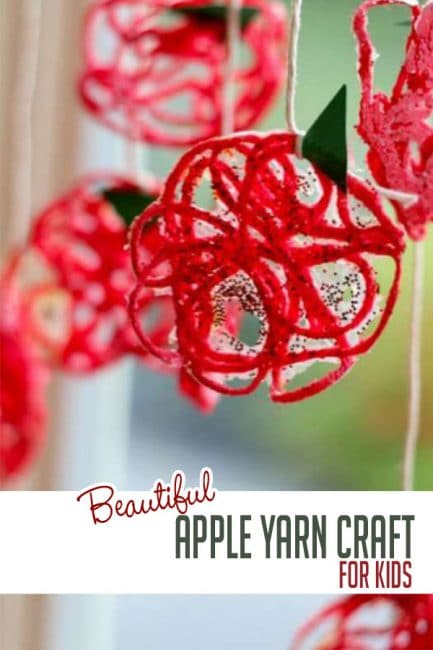 Make a sweet fall yarn apple craft that simply sparkles!